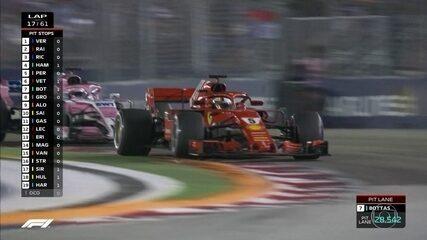 Vettel faz ultrapassagem sobre Perez