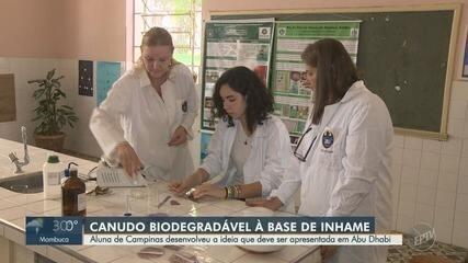 Aluna de Campinas desenvolve canudo biodegradável à base de inhame em escola estadual