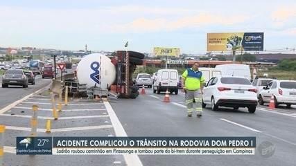 Suspeito de roubo de caminhão troca tiros com polícia e veículo tomba na Dom Pedro I