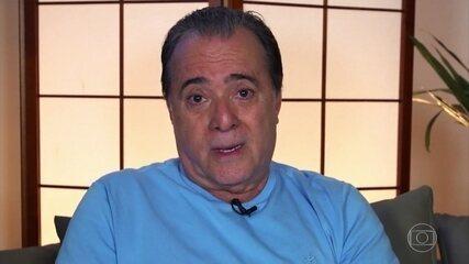 Tony Ramos, Marcelo Novaes e Miguel Falabella parabenizam Aracy Balabaniam