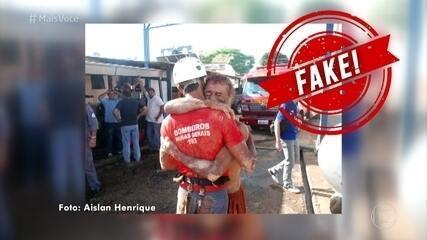 Fake News: Foto de homem abraçando bombeiro não é de Brumadinho