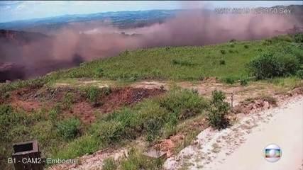 Câmera mostra outro ângulo do momento em que barragem estoura em Brumadinho
