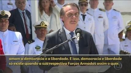 Democracia e liberdade só existem quando Forças Armadas querem, diz Bolsonaro em discurso