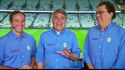 Cleber Machado, Caio Ribeiro e Casagrande analisam o jogo entre Corinthians e Santos