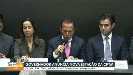 João Doria anuncia nova estação de trem na Linha 9-Esmeralda