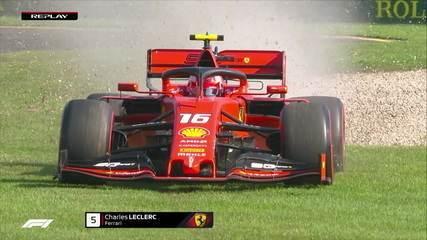 Leclerc passa reto e passeia na grama com sua Ferrari