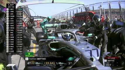 Bottas para nos boxes e volta à frente de Hamilton