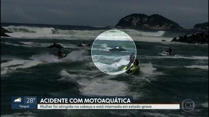 Mulher é gravemente ferida em acidente com motoaquática no Canal da Barra