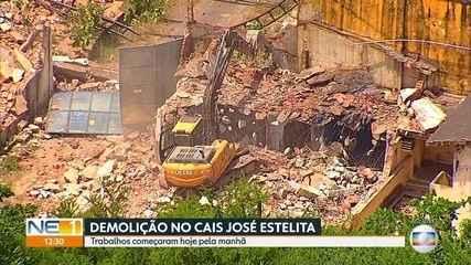 Armazéns são demolidos em terreno no Cais José Estelita, no Centro do Recife
