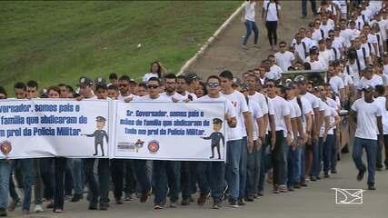 Concursados da PM realizam novo protesto no centro de São Luís