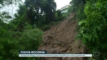 Barranco desaba e soterra casa na Rocinha