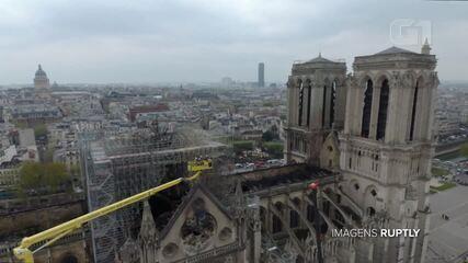 Veja estragos na catedral de Notre-Dame em imagens feitas por drone