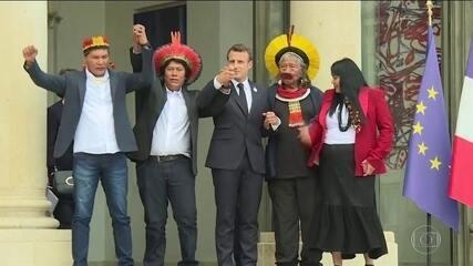 Cacique Raoni é recebido por presidente francês