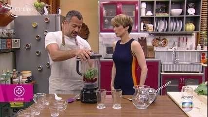 Malvino Salvador ensina receitas de sucos funcionais