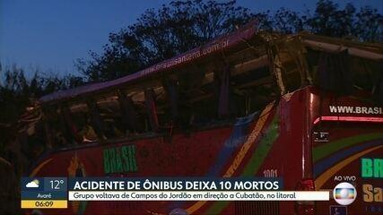 10 pessoas morrem em acidente envolvendo ônibus em Santo Antônio do Pinhal