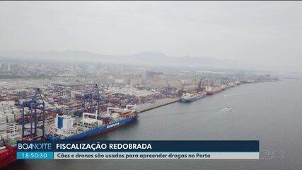 Cães e drones são usados pela Receita Federal para apreender drogas no Porto de Paranaguá