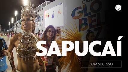 Grazi samba nos bastidores da gravação de 'Bom Sucesso' na Sapucaí