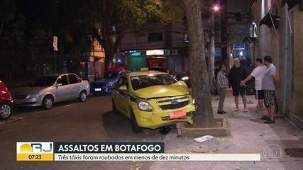 Bandidos roubam três táxis em menos de 10 minutos, em Botafogo