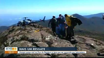 Turista é resgatado de helicóptero após passar mal no Pico da Bandeira, ES
