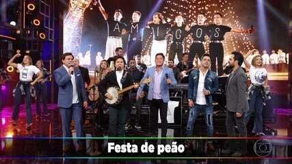 """Amigos agitam a plateia com """"Festa de Rodeio"""", """"Bailão de Peão"""" e """"Mexe Que é Bom"""""""