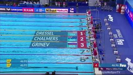 Caeleb Dressel vence os 100m livre masculino e brasileiros ficam de fora do pódio