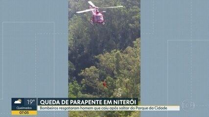 Homem cai após saltar de parapente em Niterói