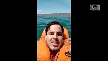 Turista faz vídeo selfie enquanto é resgatado do lago de Palmas