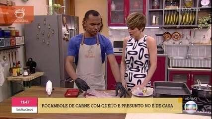 Gedeon prepara Rocambole de Carne com Queijo e Presunto para o almoço