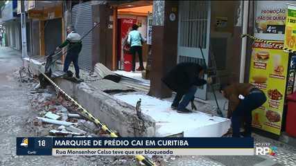 Marquise de um prédio caiu no Centro de Curitiba