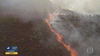 Bombeiros combatem incêndio na Serra da Moeda, em Minas Gerais