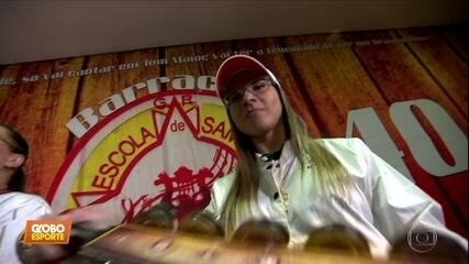 Pamela Rosa, skatista número um no street, brilha também na passarela do samba