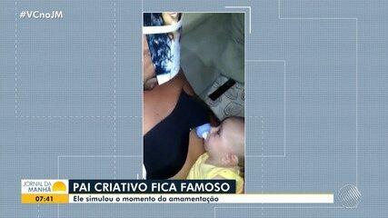 Pai usa a criatividade para amamentar filho e vídeo viraliza nas redes sociais