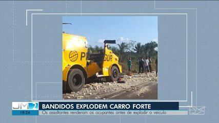 Bandidos explodem carro-forte na MA-029 entre Peritoró e Coroatá