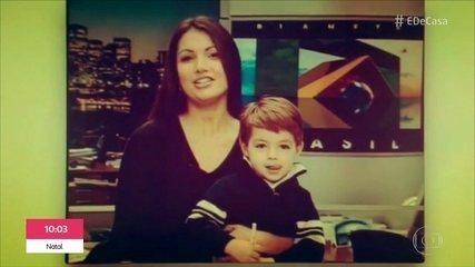 Patrícia Poeta revê imagens de quando apresentou jornal com o filho no colo