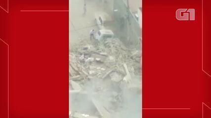 Vídeo mostra fumaça em local onde prédio desabou em Fortaleza