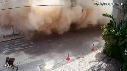 Novo vídeo mostra prédio caindo e pessoas correndo em Fortaleza