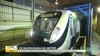 Veja como é feita a manutenção do Metrô Rio durante a madrugada