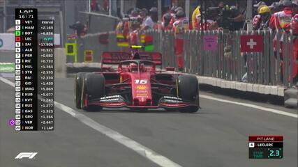 Leclerc faz pit stop e volta em quarto