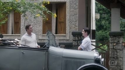 Romulo convida Geraldinho para um passeio e finge desinteresse por Catarina