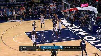Melhores momentos: Timberwolves 129 x 114 Spurs pela NBA