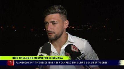 Arão, Rodrigo Caio e Arrascaeta falam sobre os dois títulos do Flamengo em menos de 24 horas
