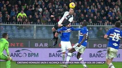 Cristiano Ronaldo alcança 2,56 metros para fazer gol de cabeça no Campeonato Italiano