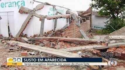 Igreja desaba após temporal, em Aparecida de Goiânia