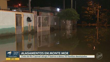 Monte Mor tem 50 famílias desalojadas e 9 áreas alagadas após temporal, diz Defesa Civil