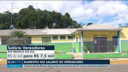 Câmara de Rio Branco do Sul aprova reajuste de 25% no salário dos vereadores