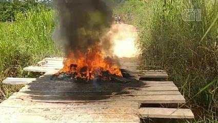 Vídeo mostra ponte incendiada e negociação para liberação de agentes do Ibama no PA