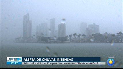 JPB2JP: Inmet emite alerta de chuvas intensas para Campina Grande e mais 180 cidades da PB