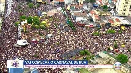 Carnaval de rua em 13 circuitos com megablocos pela Capital
