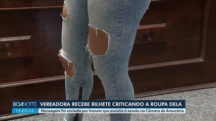 Vereadora recebe bilhete criticando a roupa que ela usava durante a sessão em Araucária