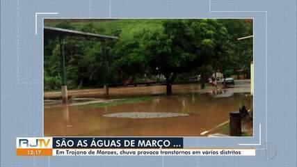 Em Trajano de Moraes, RJ, chuva provoca transtornos em vários distritos